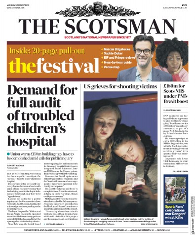 The Scotsman Newspaper Front Page (UK) for 5 August 2019
