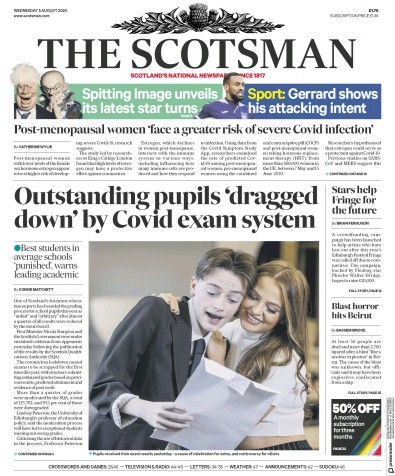 The Scotsman Newspaper Front Page (UK) for 5 August 2020