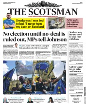 The Scotsman (UK) Newspaper Front Page for 5 September 2019