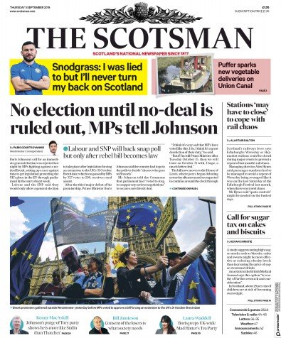 The Scotsman Newspaper Front Page (UK) for 5 September 2019