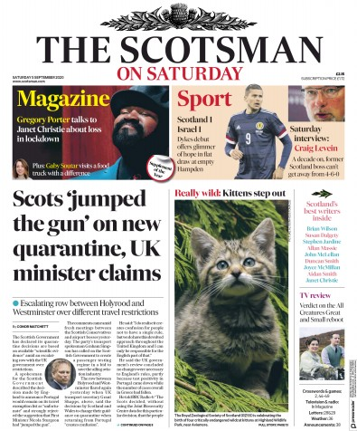 The Scotsman Newspaper Front Page (UK) for 5 September 2020