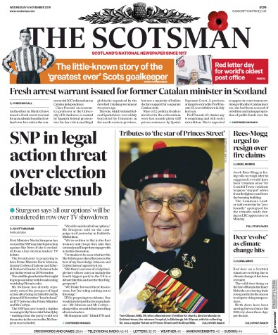 The Scotsman Newspaper Front Page (UK) for 6 November 2019