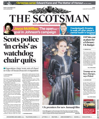The Scotsman Newspaper Front Page (UK) for 6 December 2019