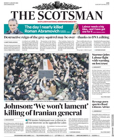 The Scotsman Newspaper Front Page (UK) for 6 January 2020