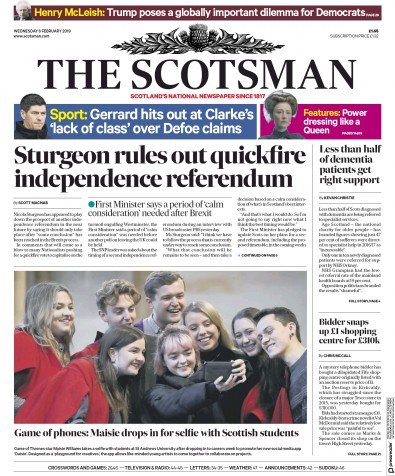 The Scotsman Newspaper Front Page (UK) for 6 February 2019