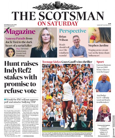 The Scotsman Newspaper Front Page (UK) for 6 July 2019