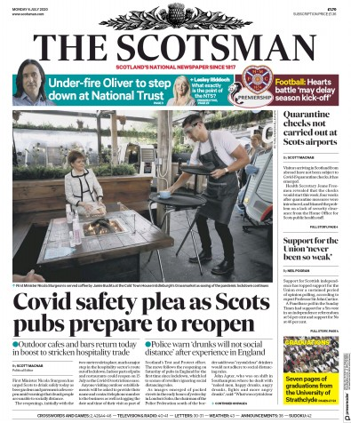 The Scotsman Newspaper Front Page (UK) for 6 July 2020