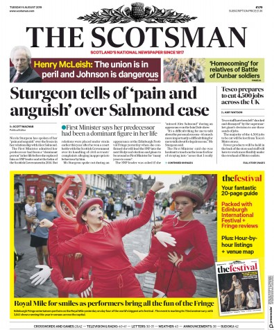 The Scotsman Newspaper Front Page (UK) for 6 August 2019