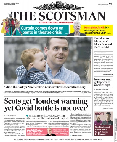 The Scotsman Newspaper Front Page (UK) for 6 August 2020