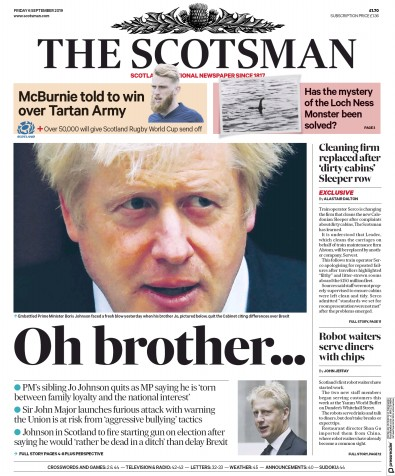 The Scotsman Newspaper Front Page (UK) for 6 September 2019
