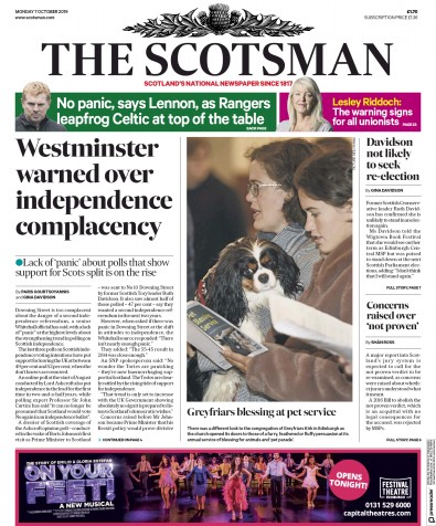 The Scotsman Newspaper Front Page (UK) for 7 October 2019