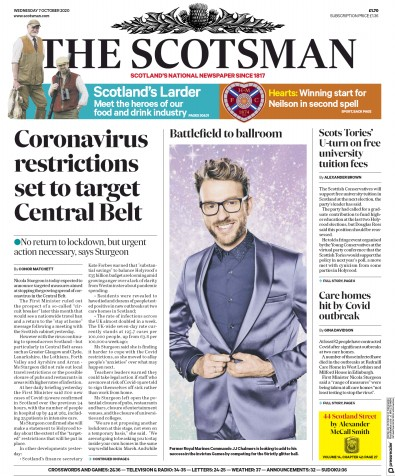 The Scotsman Newspaper Front Page (UK) for 7 October 2020