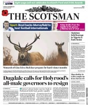 The Scotsman (UK) Newspaper Front Page for 7 November 2017