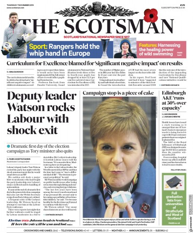 The Scotsman Newspaper Front Page (UK) for 7 November 2019