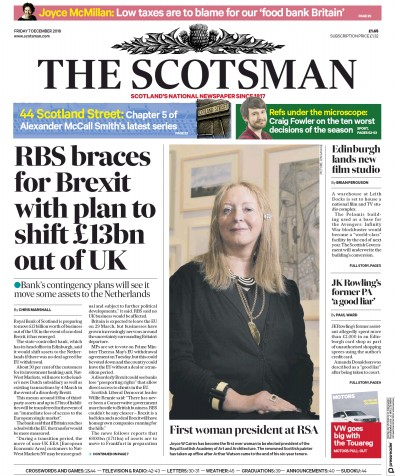 The Scotsman Newspaper Front Page (UK) for 7 December 2018