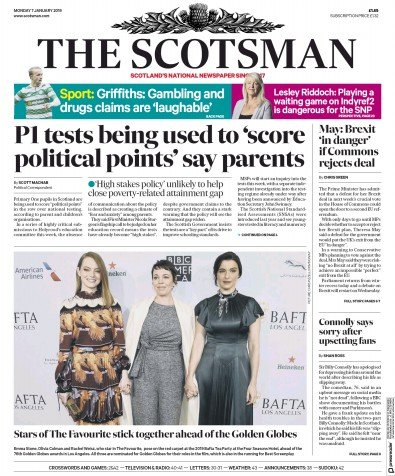 The Scotsman Newspaper Front Page (UK) for 7 January 2019