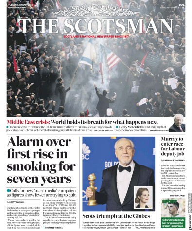 The Scotsman Newspaper Front Page (UK) for 7 January 2020