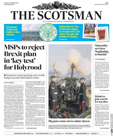 The Scotsman Newspaper Front Page (UK) for 7 February 2017