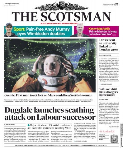 The Scotsman Newspaper Front Page (UK) for 7 March 2019