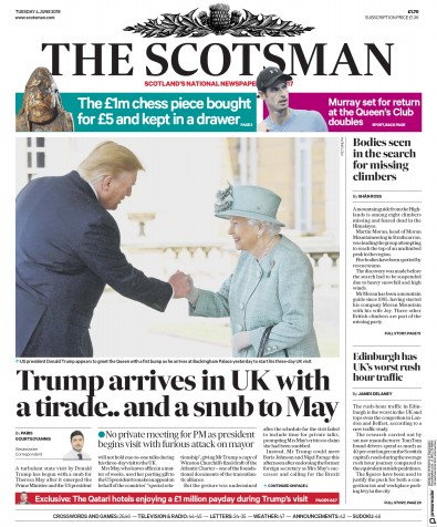 The Scotsman Newspaper Front Page (UK) for 7 June 2019