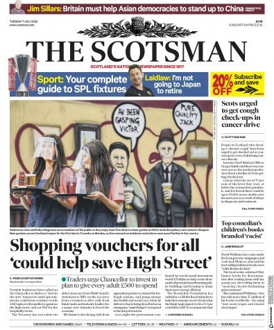 The Scotsman Newspaper Front Page (UK) for 7 July 2020