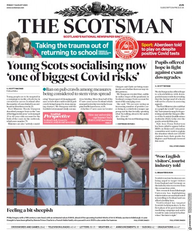 The Scotsman Newspaper Front Page (UK) for 7 August 2020