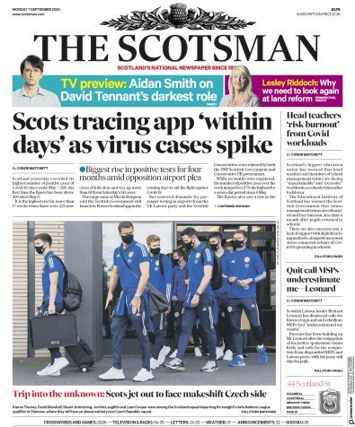 The Scotsman Newspaper Front Page (UK) for 7 September 2020