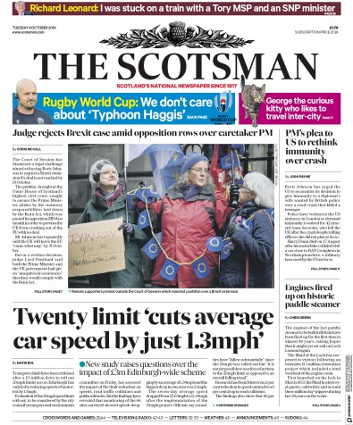 The Scotsman Newspaper Front Page (UK) for 8 October 2019