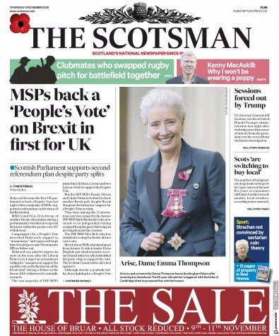 The Scotsman Newspaper Front Page (UK) for 8 November 2018