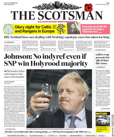 The Scotsman Newspaper Front Page (UK) for 8 November 2019