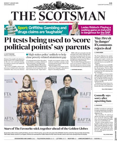 The Scotsman Newspaper Front Page (UK) for 8 January 2019