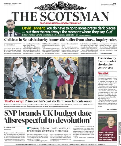 The Scotsman Newspaper Front Page (UK) for 8 January 2020
