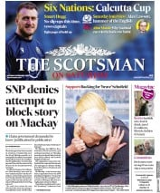 The Scotsman (UK) Newspaper Front Page for 8 February 2020