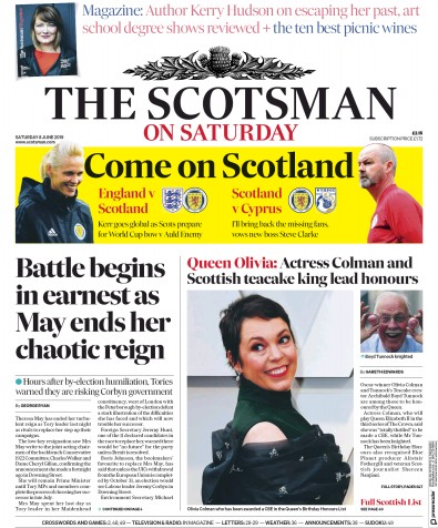 The Scotsman Newspaper Front Page (UK) for 8 June 2019