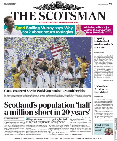 The Scotsman Newspaper Front Page (UK) for 8 July 2019
