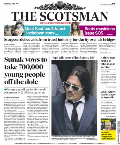 The Scotsman Newspaper Front Page (UK) for 8 July 2020