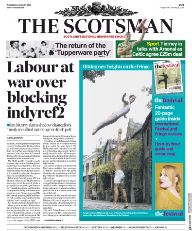 The Scotsman Newspaper Front Page (UK) for 8 August 2019