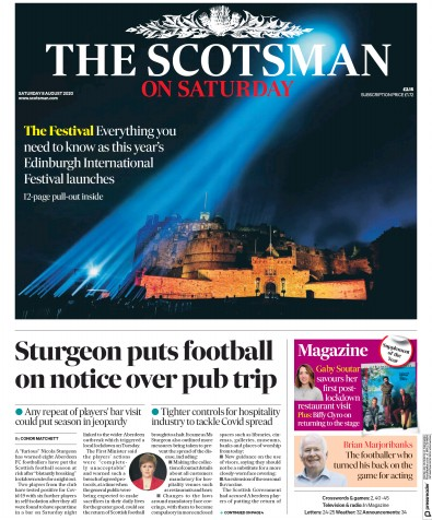 The Scotsman Newspaper Front Page (UK) for 8 August 2020