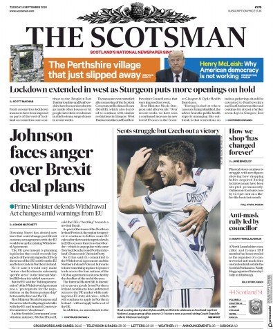 The Scotsman Newspaper Front Page (UK) for 8 September 2020