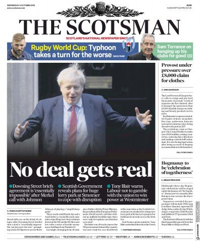 The Scotsman Newspaper Front Page (UK) for 9 October 2019