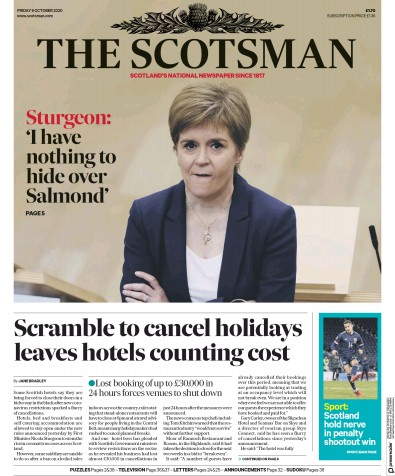 The Scotsman Newspaper Front Page (UK) for 9 October 2020