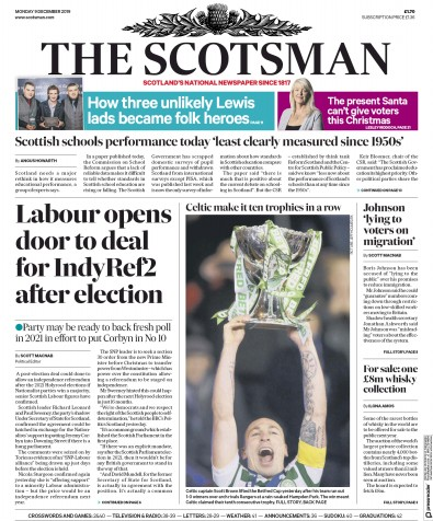The Scotsman Newspaper Front Page (UK) for 9 December 2019
