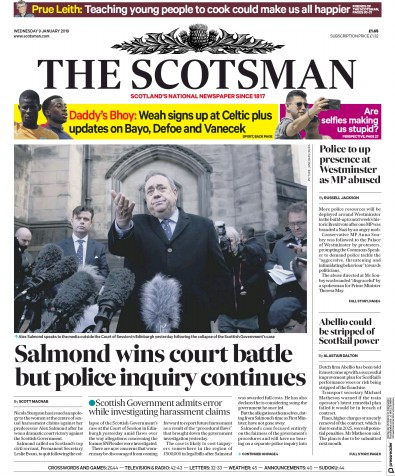 The Scotsman Newspaper Front Page (UK) for 9 January 2019