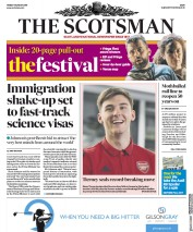 The Scotsman (UK) Newspaper Front Page for 9 August 2019