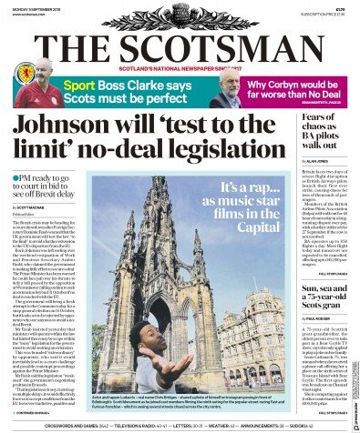 The Scotsman Newspaper Front Page (UK) for 9 September 2019
