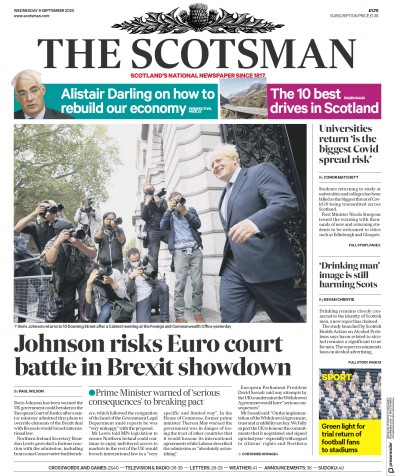 The Scotsman Newspaper Front Page (UK) for 9 September 2020
