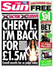 The Sun (UK) Newspaper Front Page for 11 March 2014