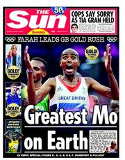 The Sun () Newspaper Front Page for 12 August 2012