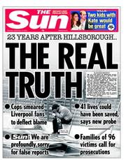 The Sun Newspaper Front Page (UK) for 13 September 2012