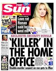 The Sun (UK) Newspaper Front Page for 14 October 2012